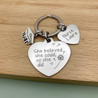 Personalised Graduation Heart Keyring For Her - She Believed She Could So She Did