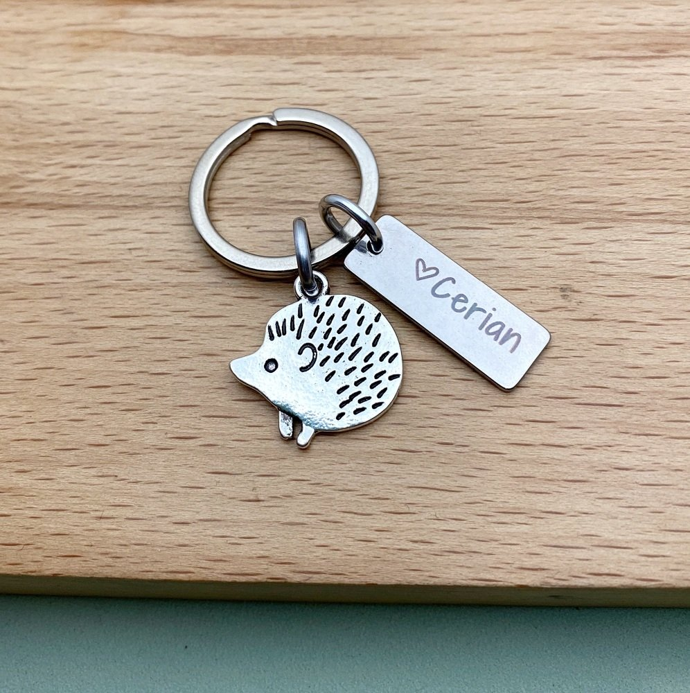 Hedgehog Gifts, Name Keyring