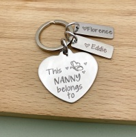 This Nanny Belongs To - Heart Keyring with Butterfly
