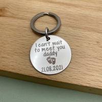 Can't Wait To Meet You Daddy - Personalised Daddy to be Keyring