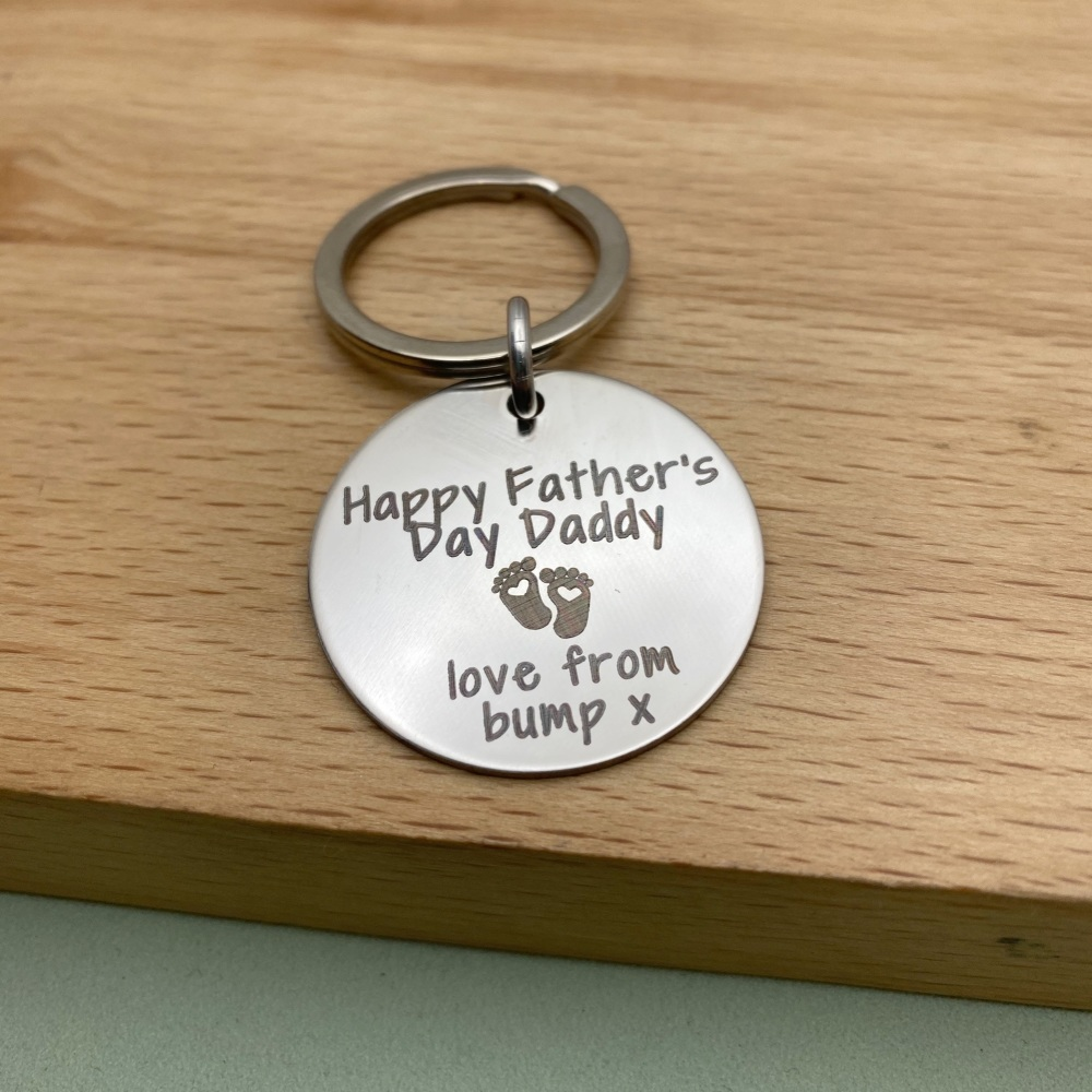 Happy Father's Day Daddy From The Bump - Personalised Keyring