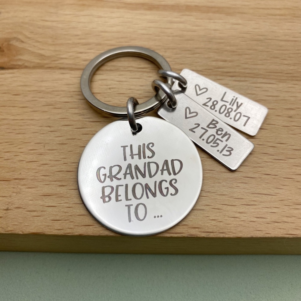 This Grandad Belongs To with grandchild birth details   Personalised Keyrin