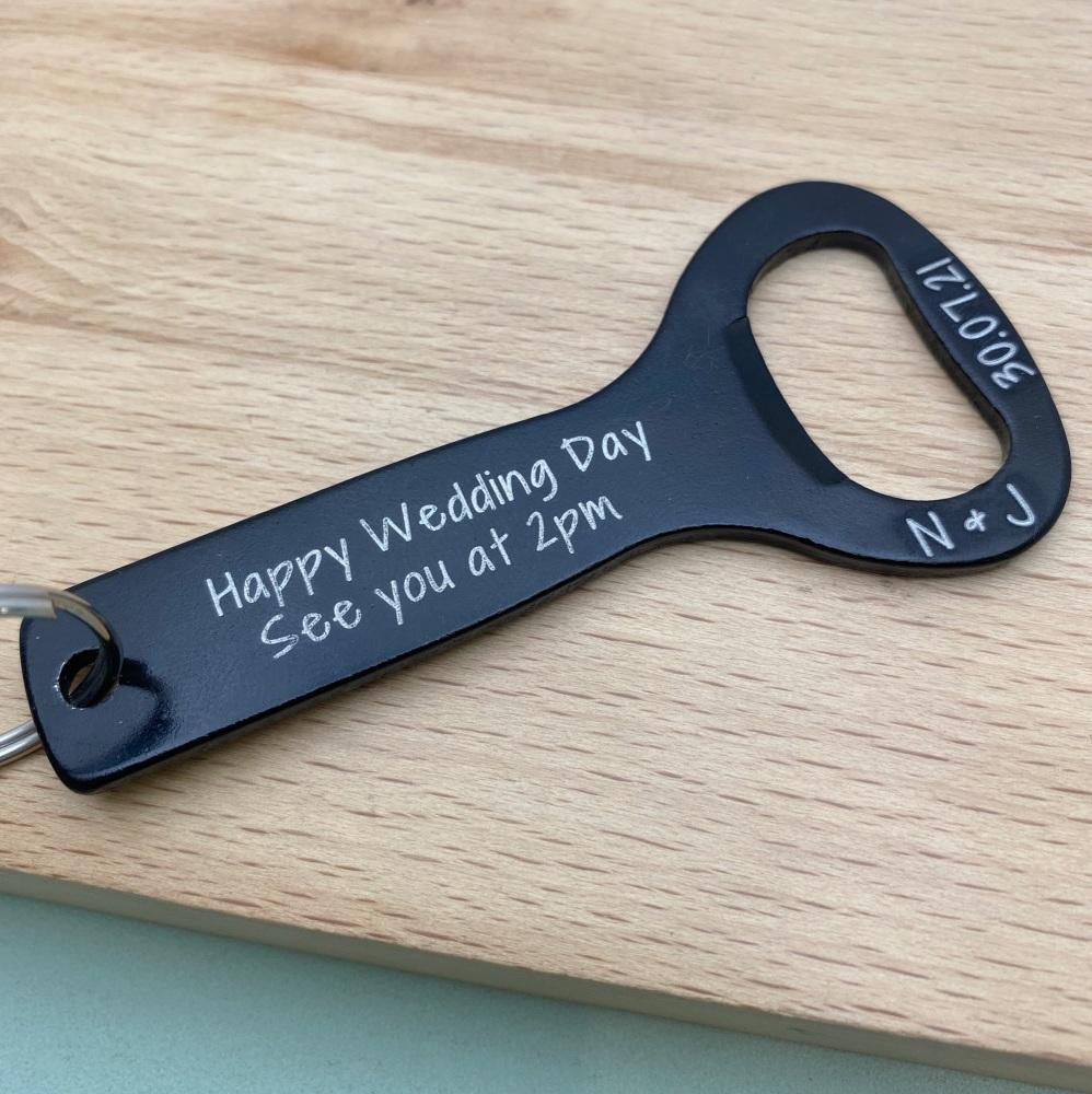 Black Groom Personalised Bottle Opener Keyring - Happy Wedding Day