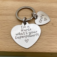 Personalised Nurse Heart Keyring - i'm a nurse whats your superpower?