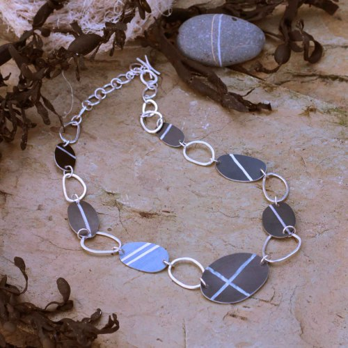 Pebble Necklace, anodised Aluminium by Anita Peach