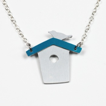 Bird on Blue roofed birdhouse, aluminium necklace