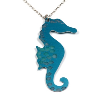 Spotty Seahorse necklace, in turquoise anodised aluminium