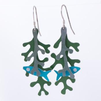 Fish in seaweed, aluminium earrings
