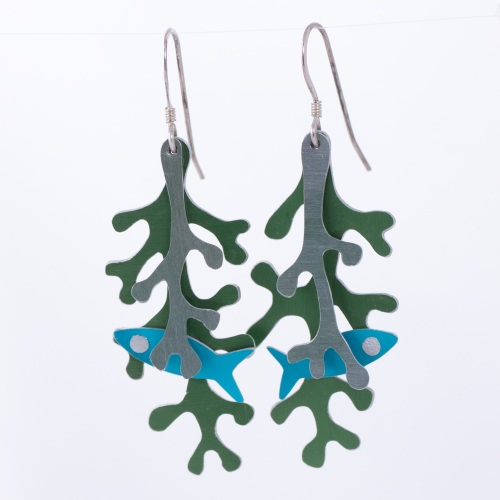 Fish in seaweed, aluminium earrings
