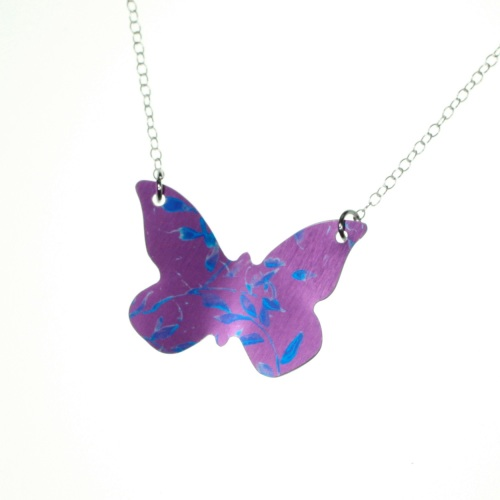 Cerise & blue flower print Butterfly Necklace