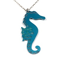 BlogSpotty Seahorse, aluminium necklace. Anita Peach