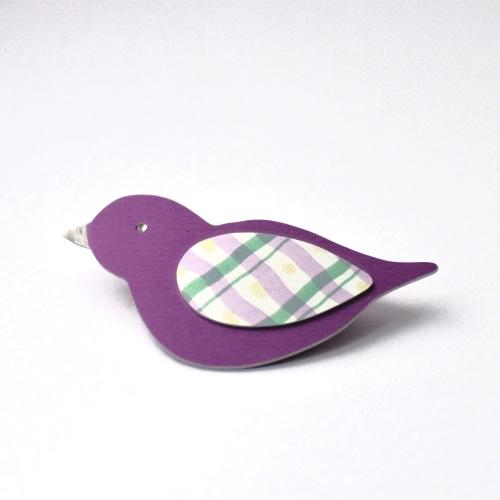 Cerise bird brooch