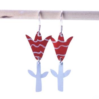 Red striped Tulip Earrings