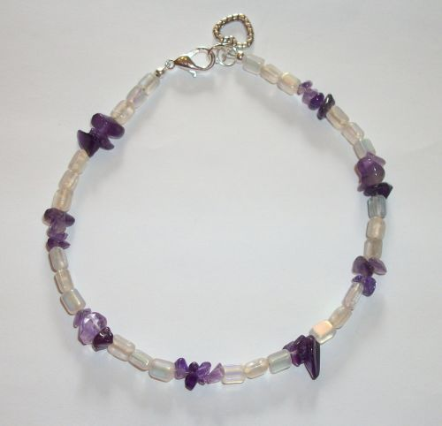 Grazie Amethyst Beaded Gemstone Heart Anklet