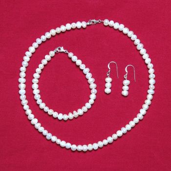 Arabella - Freshwater Pearl Necklace Bracelet & Earrings
