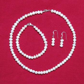 Arabella - Freshwater Pearl Necklace Bracelet & Earrings
