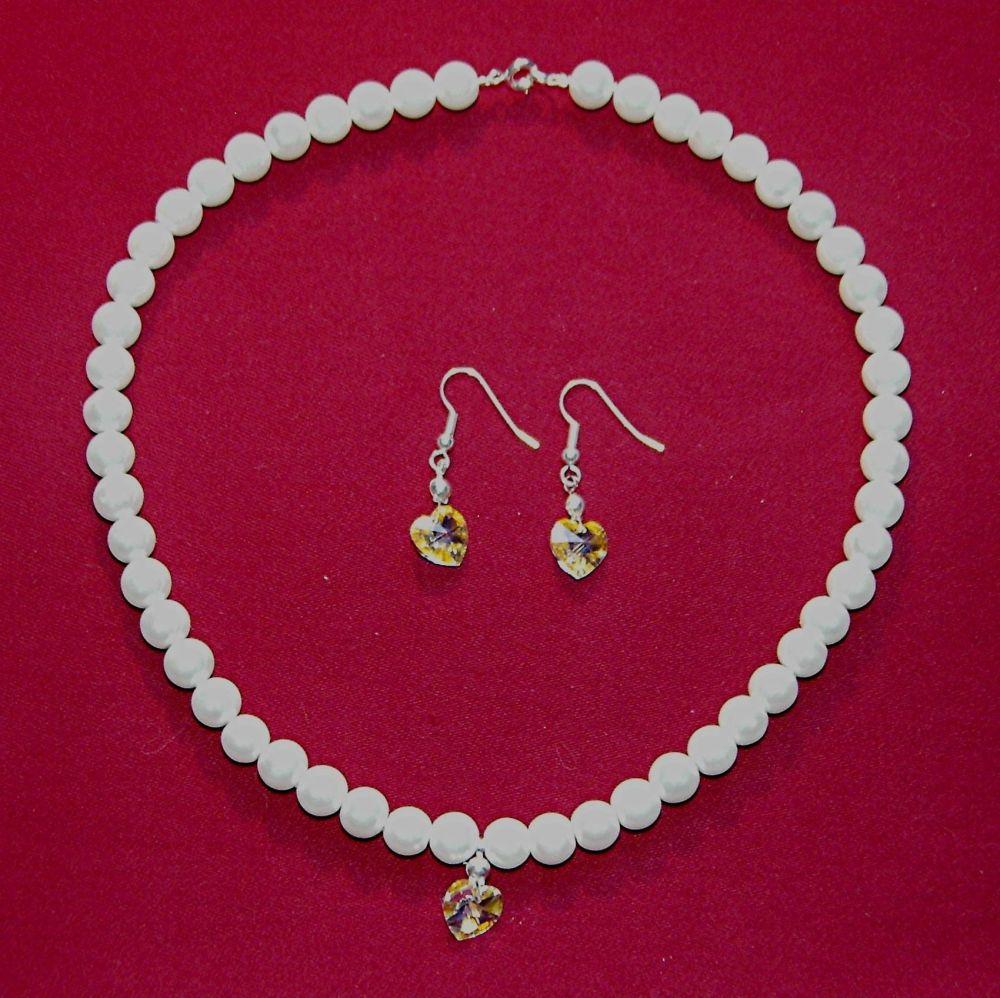 Glass Pearl Choker & Earrings