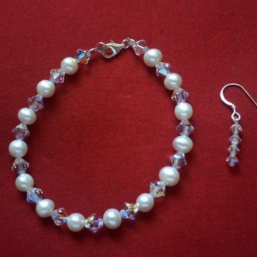 Swarovski & Pearl Bracelet 2 & Earrings