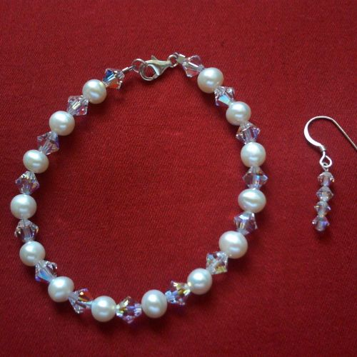 Swarovski & Pearl Bracelet 2 & Earrings