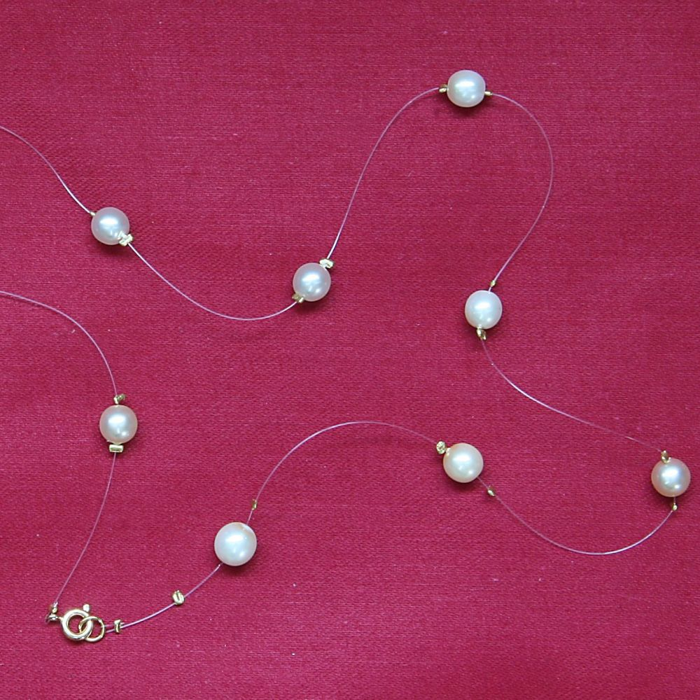 Glass Pearl Illusion Necklace