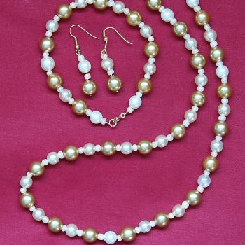 Francesca - Glass Pearl Necklace Bracelet & Earrings Set