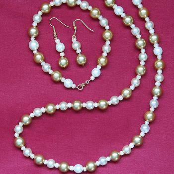 Francesca - Glass Pearl Necklace Bracelet & Earrings Set