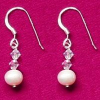 Caprice - Freshwater Pearl AA & Swarovski Crystal Earrings