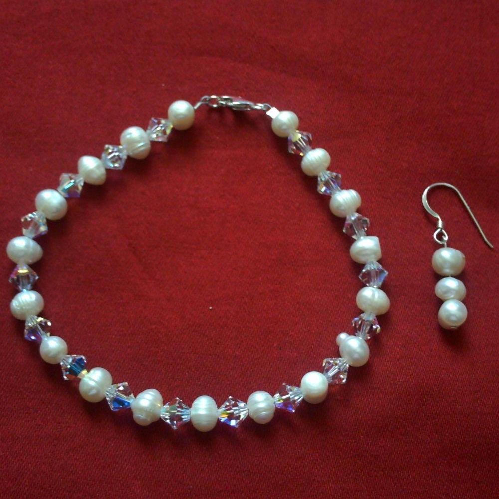 Swarovski & Pearl Bracelet & Earrings