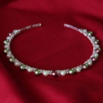 Catia - Swarovski Crystal & Glass Pearl Tiara / Alice Band