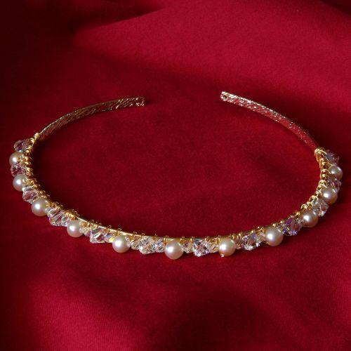 Cristina - Swarovski Crystal & Glass Pearl Tiara