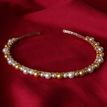 Francesca - Glass Pearl Tiara / Alice Band