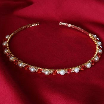 Monica - Swarovski Crystal & Glass Pearl Tiara / Alice Band