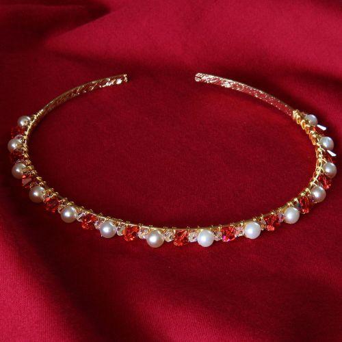Monica - Swarovski Crystal & Glass Pearl Tiara