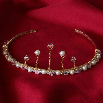 Italia - Swarovski Crystal & Glass Pearl Tiara