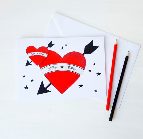 Valentine's Tattoo Love Heart Card