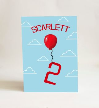 Red Balloon Card - Number 2