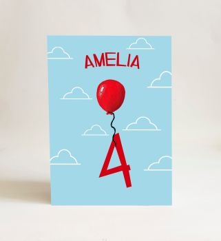 Red Balloon Card - Number 4