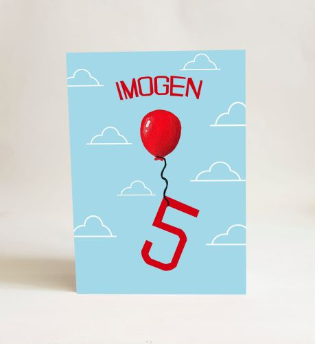 Red Balloon Card - Number 5