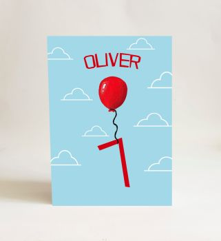 Red Balloon Card - Number 7