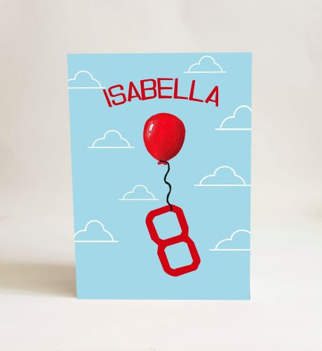 Red Balloon Card - Number 8