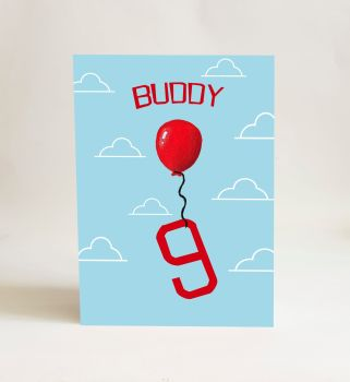 Red Balloon Card - Number 9