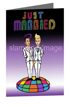 Just Married 80's card