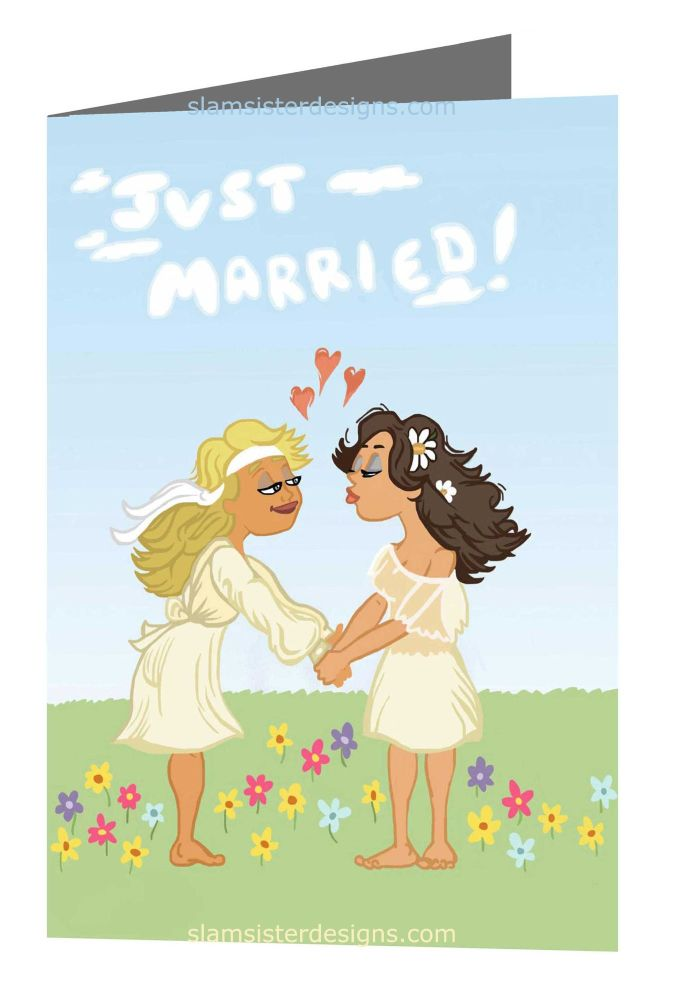 Just Married 70's card