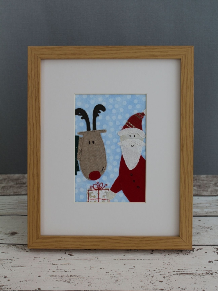 Rudolph & Santa's Gift Appliqué Pattern