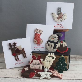 Christmas brooches decs tags