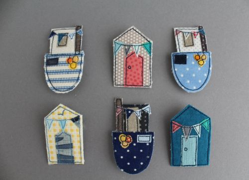 Fishing Boat & Beach Huts Brooch Pattern
