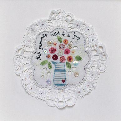 Zoom Workshop - Hand stitched jug of summer flowers