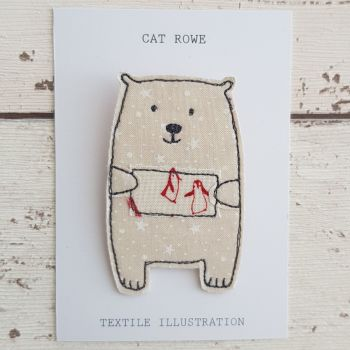 Polar Bear - penguin postcard (red)