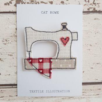 Sewing Machine Brooch - Heart Quilt