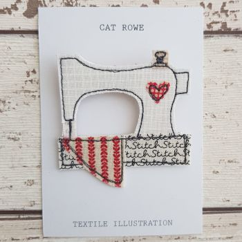 Sewing Machine Brooch - Floral Quilt